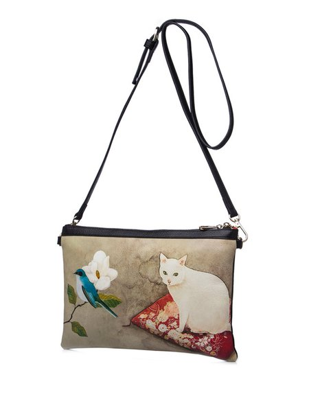 Apricot Retro Printed Shoulder Bag