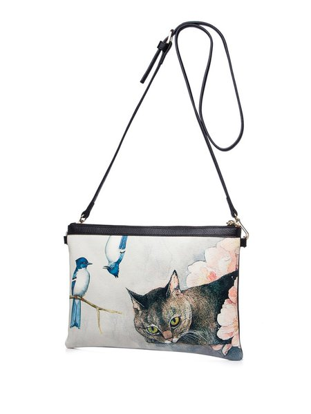 Retro Printed Zipper Shoulder Bag