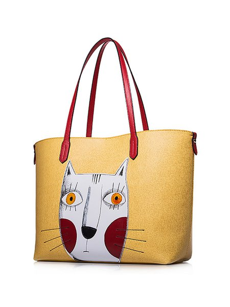 Large Cat Split Joint Zipper Sweet Tote