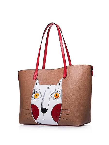 Camel Large Cute Cat Tote
