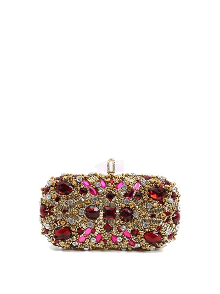 Golden Beaded Embellished Evening Clutch