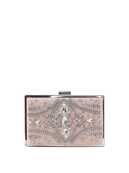 Mini Metallic Trimmed Beaded Embellished Evening Clutch