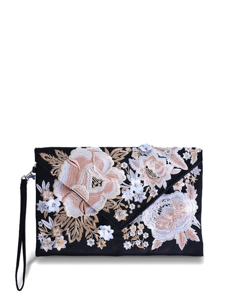 Black Retro Floral-embroidered Chinlon Envelope Clutch