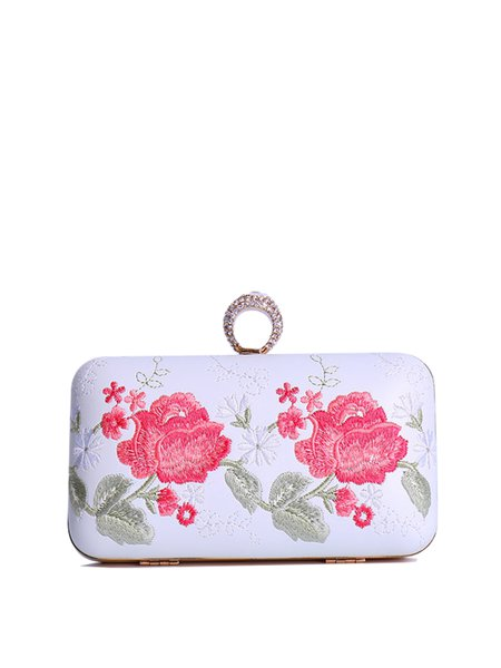 Floral-Embroidered Evening Clasp Lock Clutch