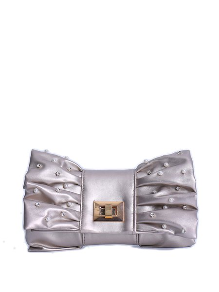 Silver Sweet Beaded Embellished Bow Shaped Twist Lock Clutch