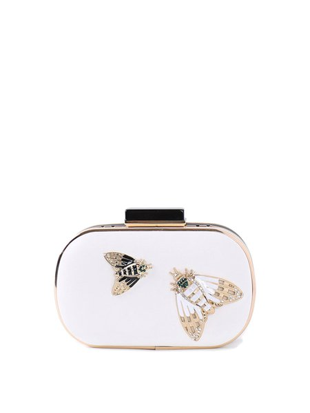 White Mini Evening Insect Embellished Clutch