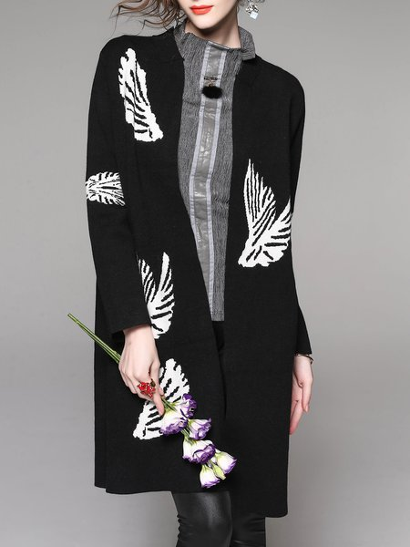 Knitted Printed Long Sleeve Cardigan