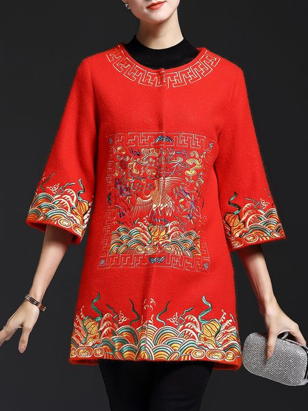 3/4 Sleeve Vintage Embroidered Floral Coat