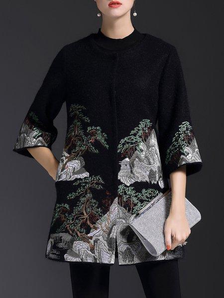 Vintage Embroidered Pockets Crew Neck 3/4 Sleeve Coat