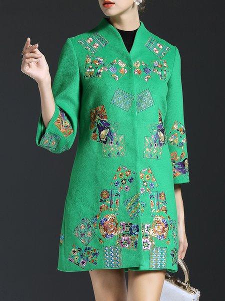 Wool Blend A-line Embroidered Pockets Vintage Coat