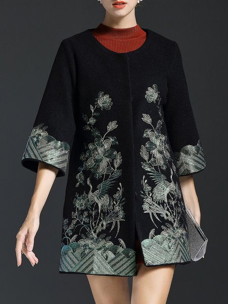 Embroidered Vintage Floral Wool Blend 3/4 Sleeve Coat