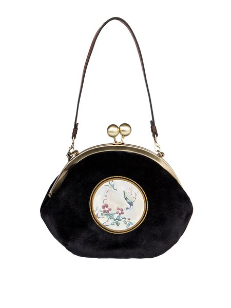 Black Retro Small Printed Velvet Crossbody