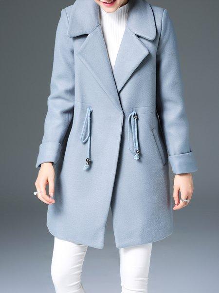 Solid Wool Blend Shift Long Sleeve Coat