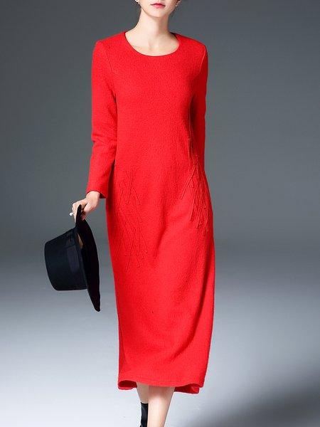 Wool Blend A-line Elegant Solid Midi Dress