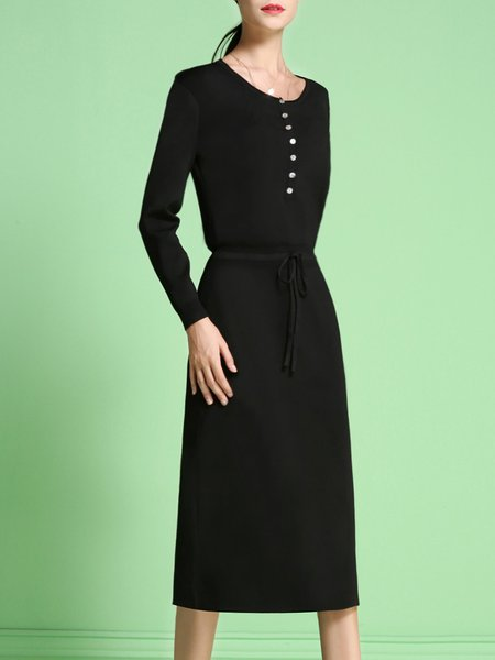 Black Sheath Buttoned Long Sleeve Sweater Dress
