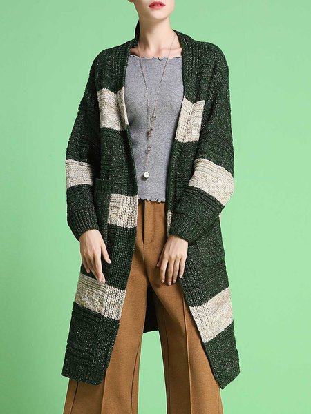 Stripes Color-block Knitted Long Sleeve Cardigan