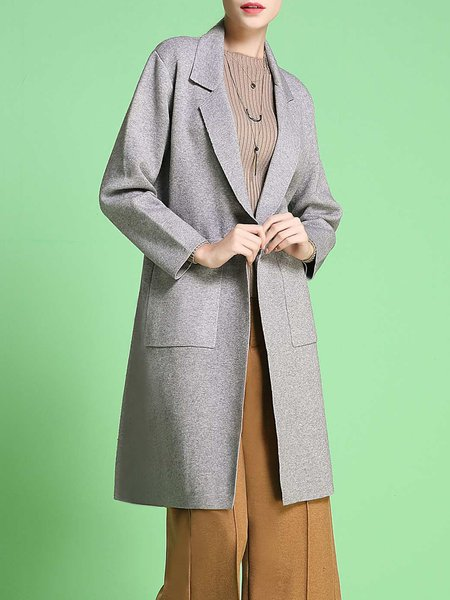Pockets Lapel H-line Solid Long Sleeve Coat