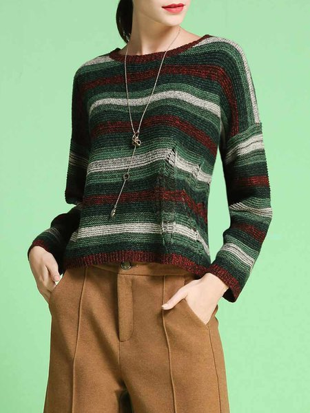 Dark Green Casual Stripes Crew Neck Sweater