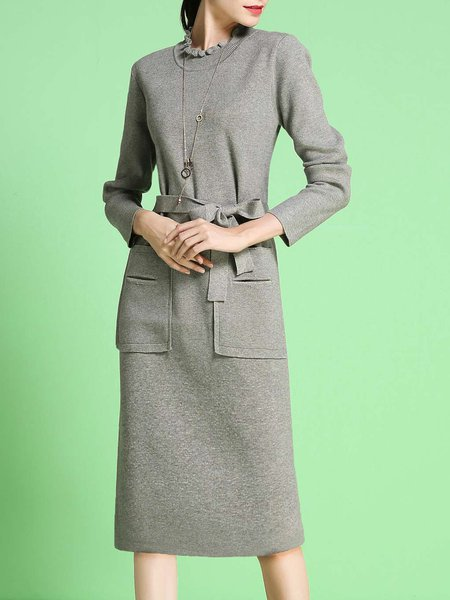 Elegant Solid Long Sleeve Ruffled Sheath Sweater Dress