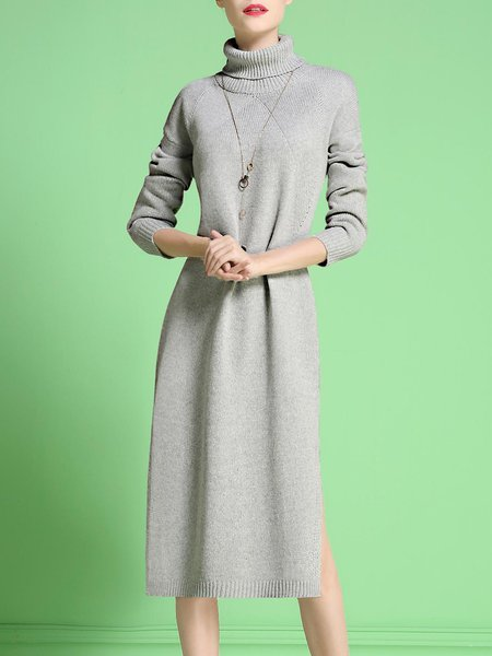 Slit Turtleneck Knitted Casual Sweater Dress