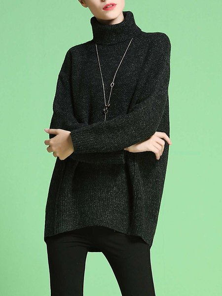 Knitted Turtleneck Slit Casual Sweater