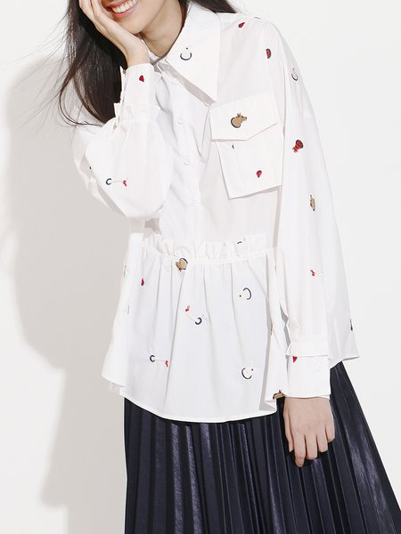 Ruffled Embroidered Casual Shirt Collar Long Sleeved Top
