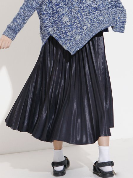 Navy Blue Casual Cotton Pleated Midi Skirt
