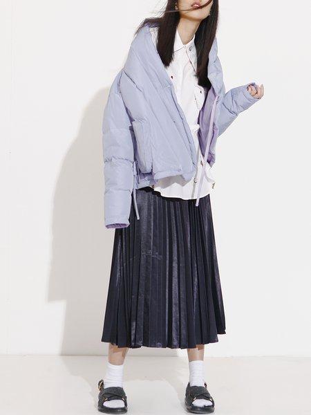 Lavender Long Sleeve Pockets Down Coat
