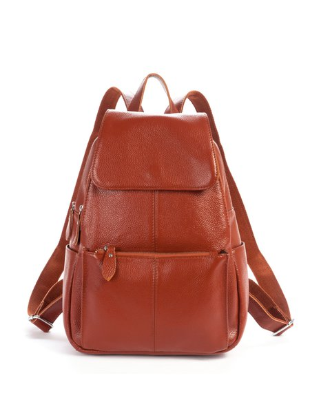 Cowhide Leather Large Casual Zipper Backpack