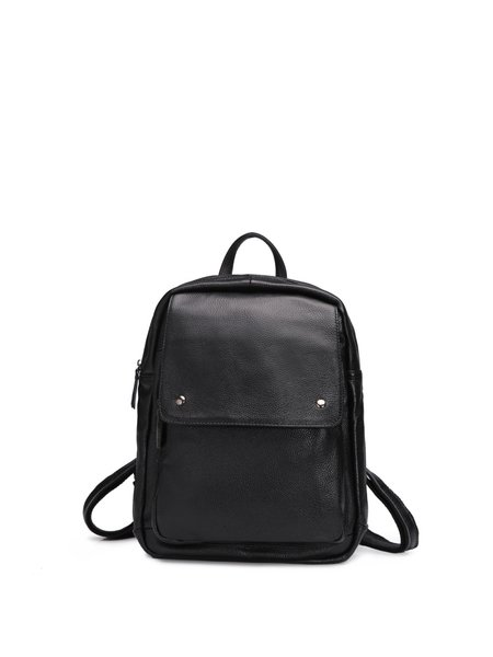 Zipper Solid Cowhide Leather Simple Backpack