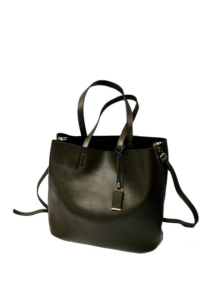 Zipper Medium Simple Solid Cowhide Leather Tote