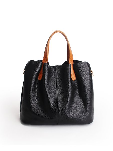 Zipper Solid Cowhide Leather Top Handle