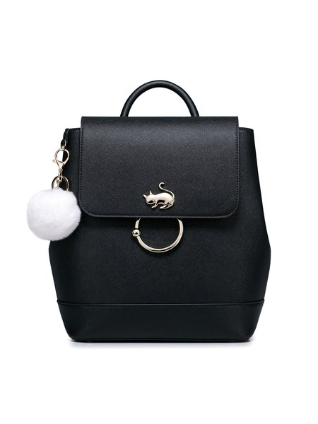 Sweet PU Fur Ball Zipper Backpack