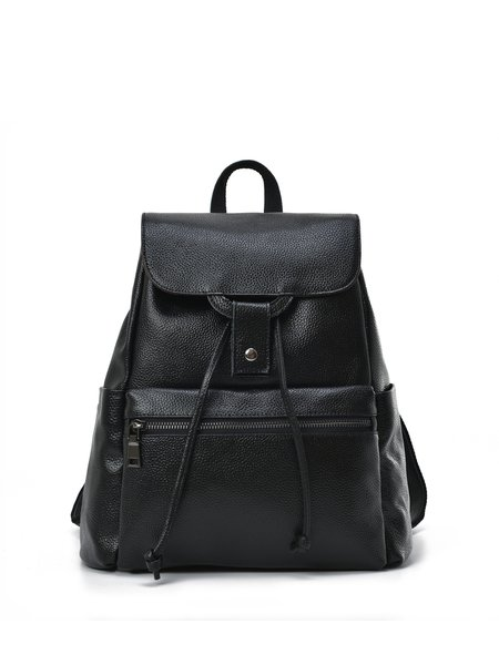 Magnetic Large Cowhide Leather Casual Backpack