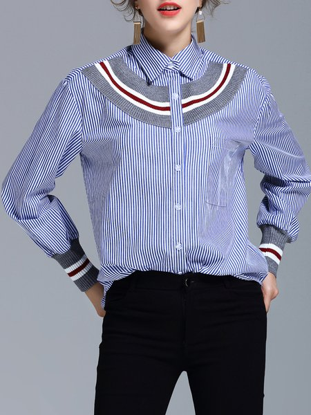 Blue Shirt Collar Stripes H-line Long Sleeve Blouse