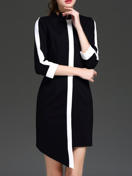 Black Asymmetrical Color-block 3/4 Sleeve Midi Dress