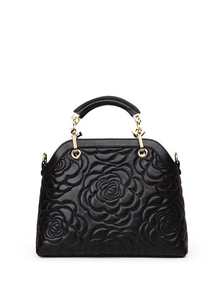 Casual Zipper Floral Embossed Leather Top Handle