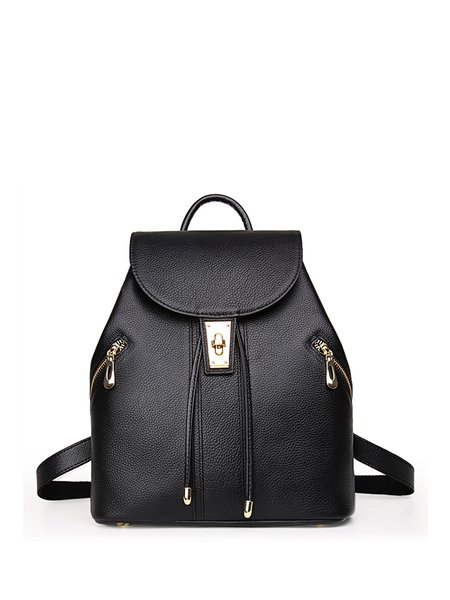 Solid Twist Lock Solid Cowhide Leather Casual Backpack