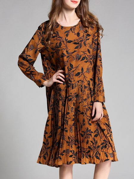 Long Sleeve Pleated Leaf Printed Midi Dress