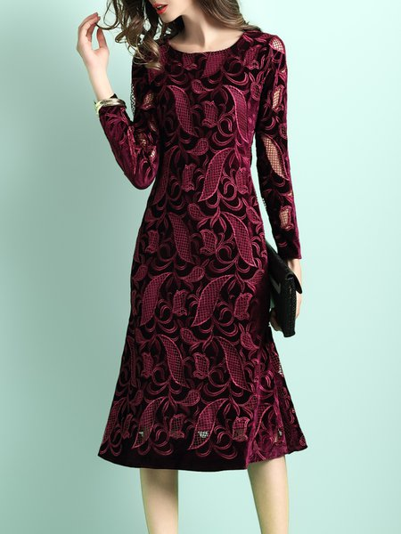 Burgundy Embroidered Crew Neck Elegant Midi Dress