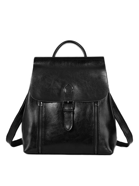Solid Cowhide Leather Casual Zipper Backpack