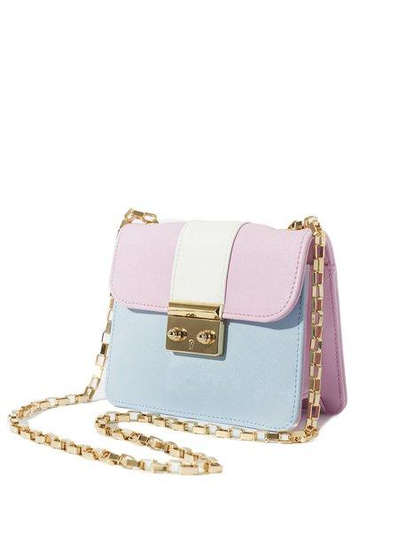 Sweet Color-block PU Push Lock Mini Crossbody Bag