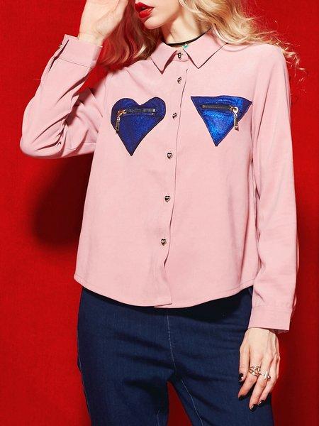 Buttoned Geometric Zipper Long Sleeve Blouse