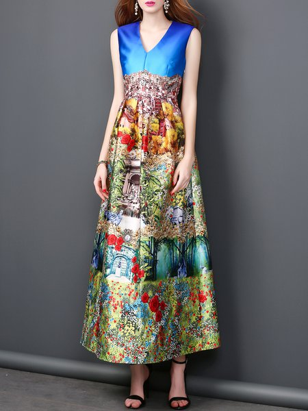 Floral-print A-line Painted V Neck Vintage Sleeveless Maxi Dress