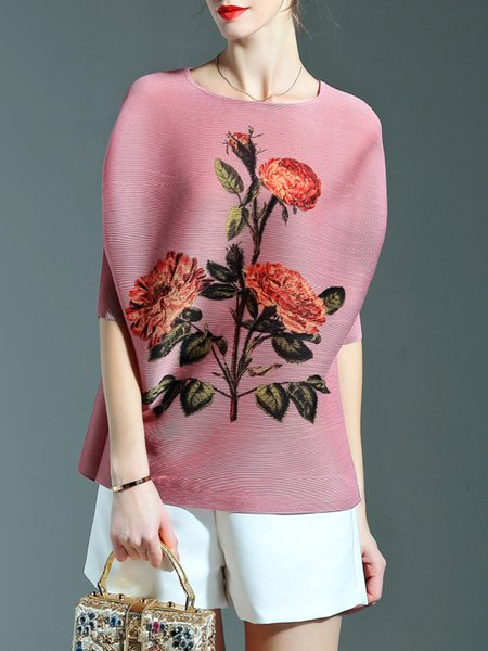 Crew Neck Casual Floral-print Half Sleeve Tunic