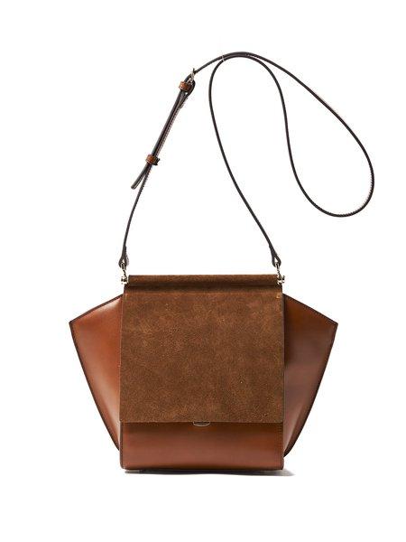 Brown Split Leather Fold-over Flat Top Shoulder Bag