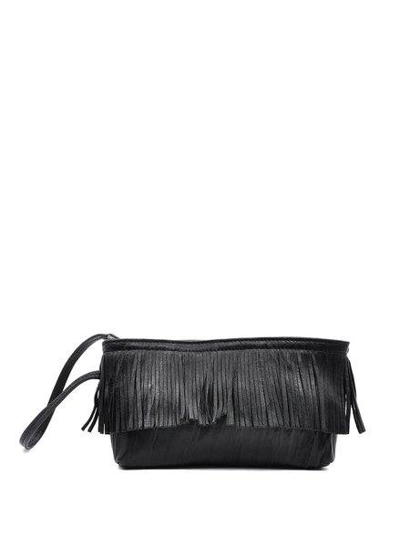 Black Fringed Leather Zipper Clutch