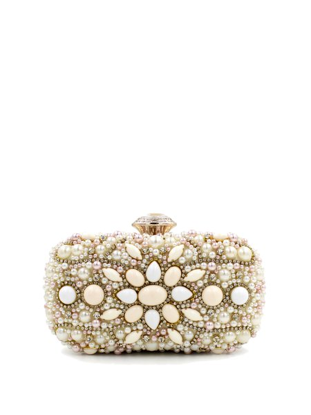Beige Evening Beaded Clutch