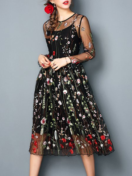 Vintage Crew Neck Floral-embroidered Long Sleeve Midi Dress