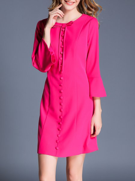 Fuchsia Buttoned A-line Bow Buttoned 3/4 Sleeve Mini Dress